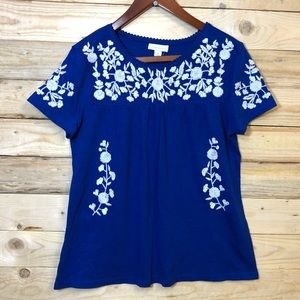 Charter Club top Blue Floral Embroidered T Shirt